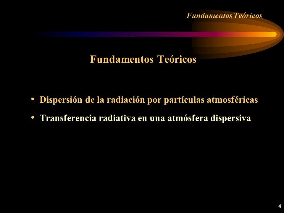 35 Caracterización aerosoles Parámetros radiativos Los relativos a la teoría de Mie Todos ellos son función de: Parámetro de tamaño: x = 2 r/ Indice de refracción: n = n R - in I Por tanto son funciones de tres variables (r,,n) En algunos casos presentan además dependencia angular respecto a la dirección de observación ( ).
