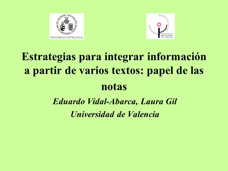 Estrategias para integrar información a partir de varios textos: papel de las notas Eduardo Vidal-Abarca, Laura Gil Universidad de Valencia