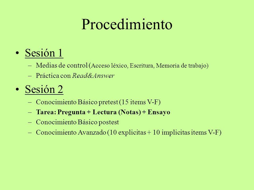 Procedimiento Sesión 1 –Medias de control ( Acceso léxico, Escritura, Memoria de trabajo) –Práctica con Read&Answer Sesión 2 –Conocimiento Básico pret