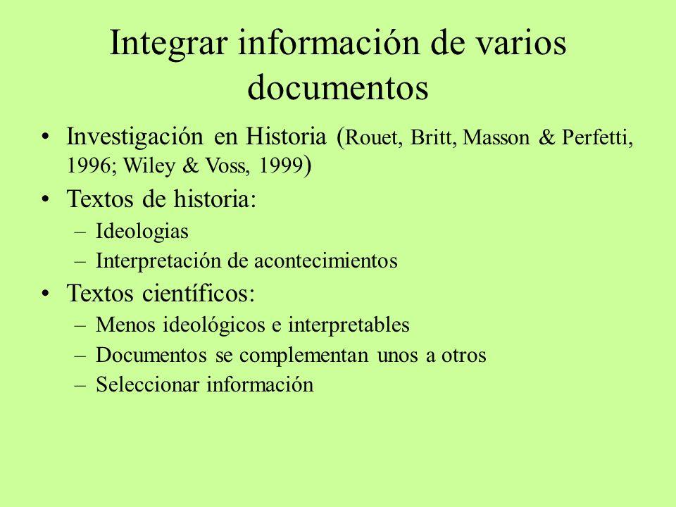 Integrar información de varios documentos Investigación en Historia ( Rouet, Britt, Masson & Perfetti, 1996; Wiley & Voss, 1999 ) Textos de historia:
