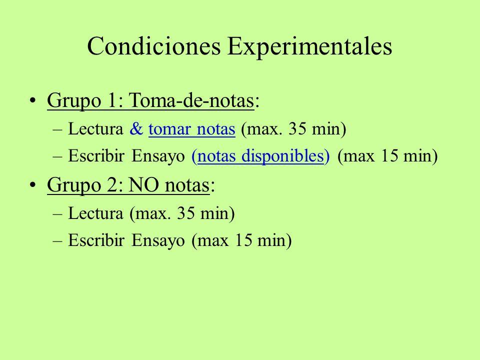 Condiciones Experimentales Grupo 1: Toma-de-notas: –Lectura & tomar notas (max. 35 min) –Escribir Ensayo (notas disponibles) (max 15 min) Grupo 2: NO
