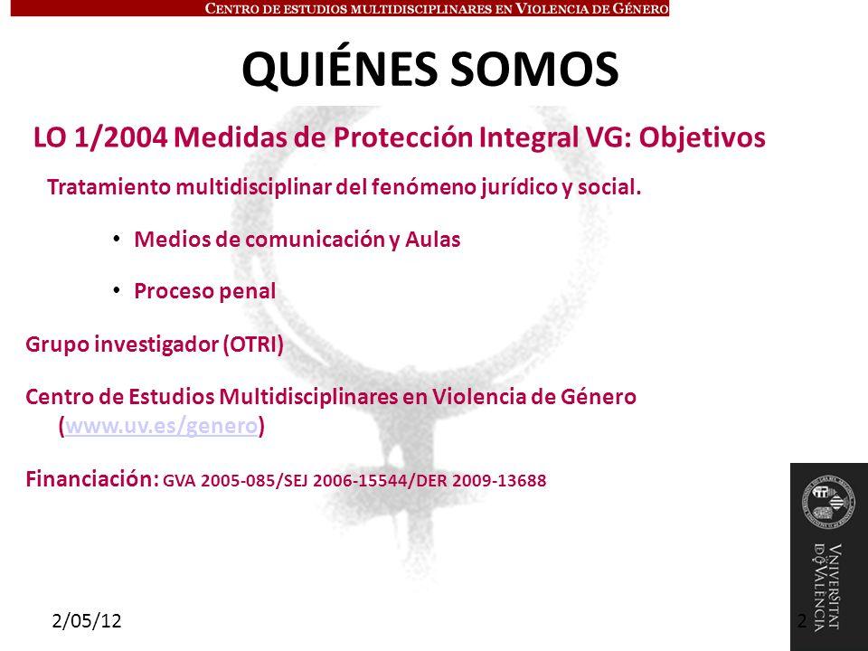 OBJETIVOS ÁREA JURÍDICA (1) Funcionamiento de los juzgados encargados de ejecutar las penas de violencia de género (2) Seguimiento control y coordinación de las medidas en violencia de género (3) Detección de las penas que cumplen mejor los fines de prevención en los maltratadores ÁREA EDUCACIÓN (1) Conocer las actitudes de los profesores de Primaria y Secundaria de la ciudad de Valencia hacia la educación en la igualdad de género.
