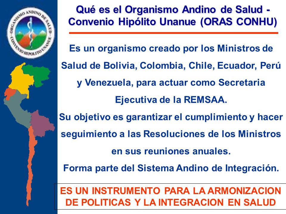 Qué es el Organismo Andino de Salud - Convenio Hipólito Unanue (ORAS CONHU) Es un organismo creado por los Ministros de Salud de Bolivia, Colombia, Ch