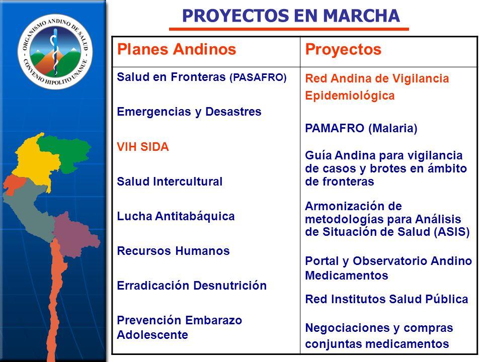 Planes AndinosProyectos Salud en Fronteras (PASAFRO) Emergencias y Desastres VIH SIDA Salud Intercultural Lucha Antitabáquica Recursos Humanos Erradic