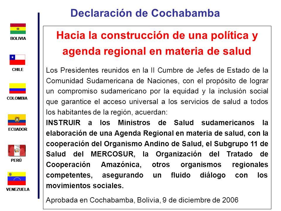 BOLIVIA ECUADOR CHILE VENEZUELA PERÚ COLOMBIA BOLIVIA ECUADOR CHILE VENEZUELA PERÚ COLOMBIA Declaración de Cochabamba Hacia la construcción de una pol