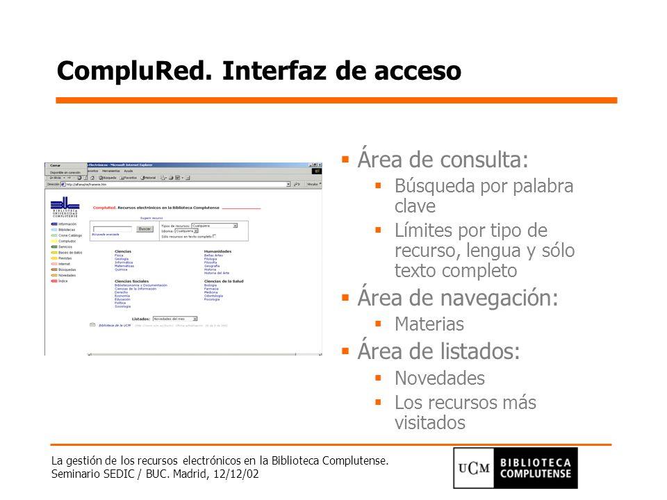 La gestión de los recursos electrónicos en la Biblioteca Complutense. Seminario SEDIC / BUC. Madrid, 12/12/02 CompluRed. Interfaz de acceso Área de co
