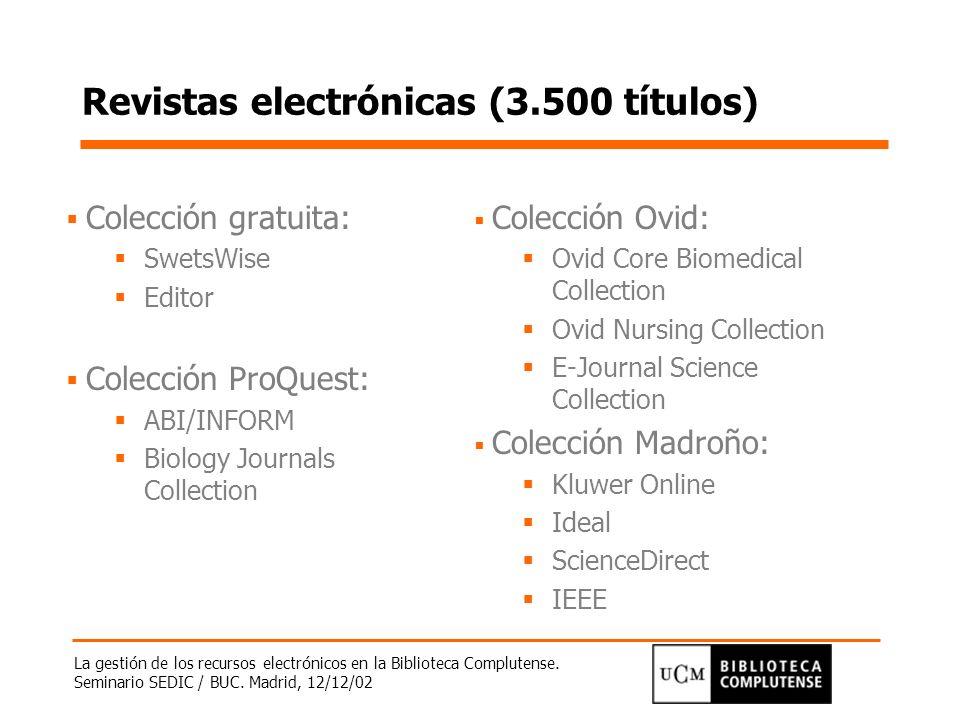 La gestión de los recursos electrónicos en la Biblioteca Complutense. Seminario SEDIC / BUC. Madrid, 12/12/02 Revistas electrónicas (3.500 títulos) Co