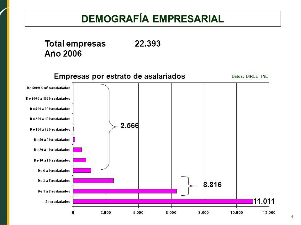 4 DEMOGRAFÍA EMPRESARIAL Datos: DIRCE. INE Empresas por estrato de asalariados Total empresas 22.393 Año 2006 11.011 2.566 8.816