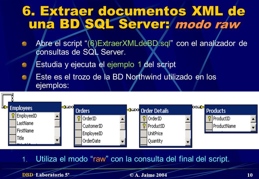 DBD Laboratorio 5º © A. Jaime 2004 10 6. Extraer documentos XML de una BD SQL Server: modo raw Abre el script (6)ExtraerXMLdeBD.sql con el analizador