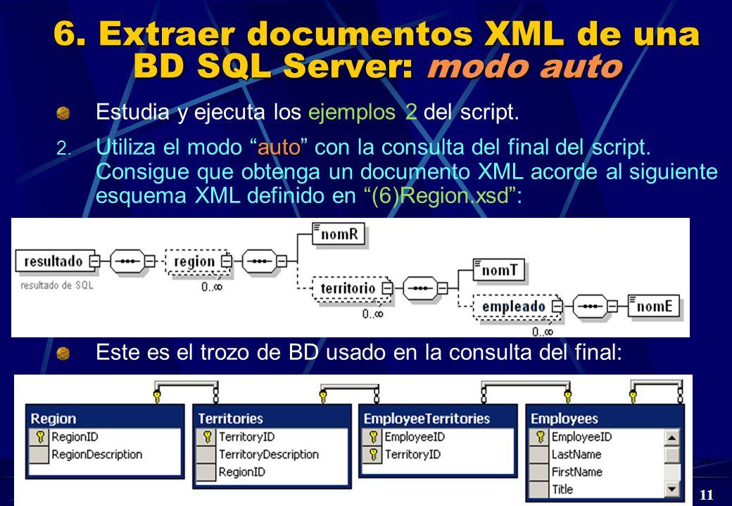 DBD Laboratorio 5º © A. Jaime 2004 11 6. Extraer documentos XML de una BD SQL Server: modo auto Estudia y ejecuta los ejemplos 2 del script. auto 2. U