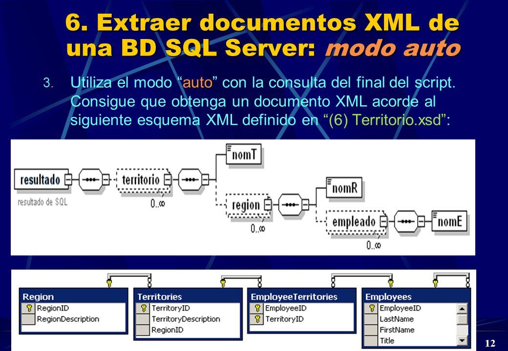 DBD Laboratorio 5º © A. Jaime 2004 12 6. Extraer documentos XML de una BD SQL Server: modo auto auto 3. Utiliza el modo auto con la consulta del final