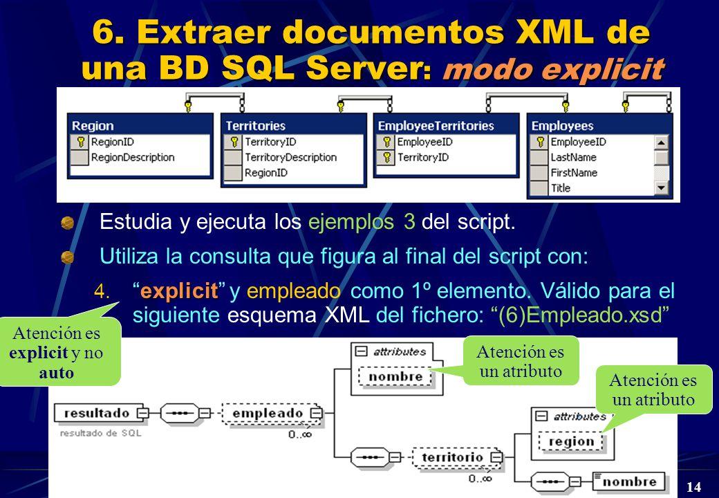 DBD Laboratorio 5º © A. Jaime 2004 14 6. Extraer documentos XML de una BD SQL Server : modo explicit Estudia y ejecuta los ejemplos 3 del script. Util
