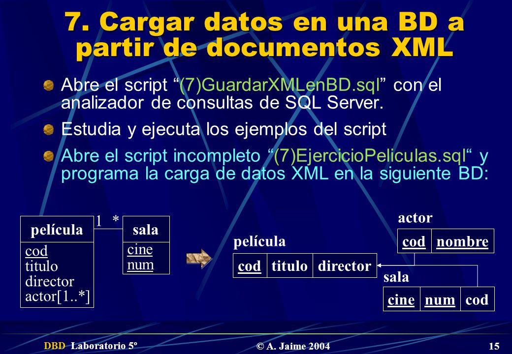 DBD Laboratorio 5º © A. Jaime 2004 15 7. Cargar datos en una BD a partir de documentos XML Abre el script (7)GuardarXMLenBD.sql con el analizador de c