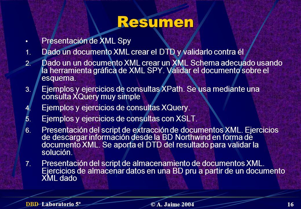 DBD Laboratorio 5º © A. Jaime 2004 16 Resumen Presentación de XML Spy 1. Dado un documento XML crear el DTD y validarlo contra él 2. Dado un un docume
