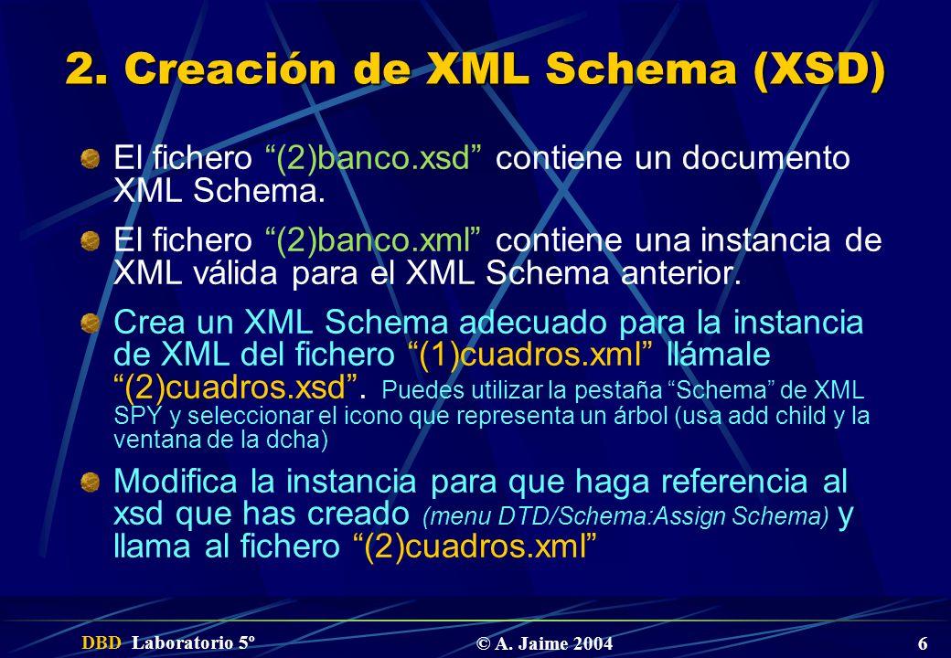 DBD Laboratorio 5º © A. Jaime 2004 6 2. Creación de XML Schema (XSD) El fichero (2)banco.xsd contiene un documento XML Schema. El fichero (2)banco.xml