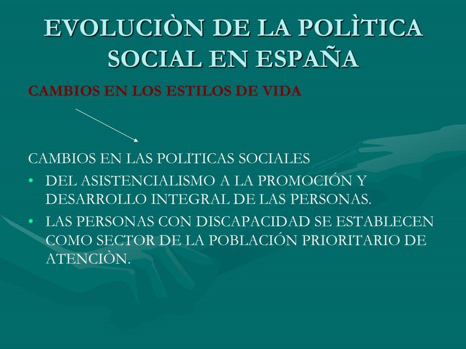 POLÍTICAS DE INTEGRACIÓN POLITICA EDUCATIVAPOLITICA EDUCATIVA EN FUNCIÓN DEL GRADO DE DISCAPACIDAD DE LA PERSONA AFECTADA:EN FUNCIÓN DEL GRADO DE DISCAPACIDAD DE LA PERSONA AFECTADA: –ESCOLARIZACIÓN EN UNIDADES Y CENTROS ORDINARIOS, CON LOS APOYOS Y ADAPTACIONES PRECISOS –ESCOLARIZACIÓN EN UNIDADES DE EDUCACIÓN ESPECIAL EN CENTROS ORDINARIOS –ESCOLARIZACIÓN EN CENTROS ESPECÍFICOS DE EDUCACIÓN ESPECIAL