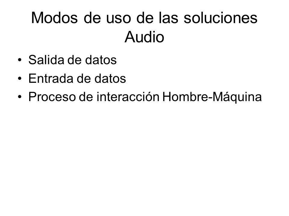 Formatos de empaquetado Salida de datos (Contenidos) –Ficheros Daisy (XML, HTML, SMIL, WAV) –Mp3, Wma, Wav, etc –TXT, PDF, HTML, etc + engine text-to-speech