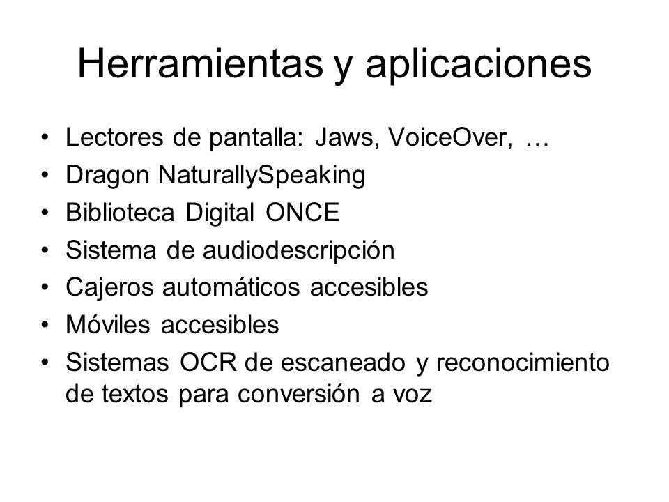 Herramientas y aplicaciones Lectores de pantalla: Jaws, VoiceOver, … Dragon NaturallySpeaking Biblioteca Digital ONCE Sistema de audiodescripción Cajeros automáticos accesibles Móviles accesibles Sistemas OCR de escaneado y reconocimiento de textos para conversión a voz