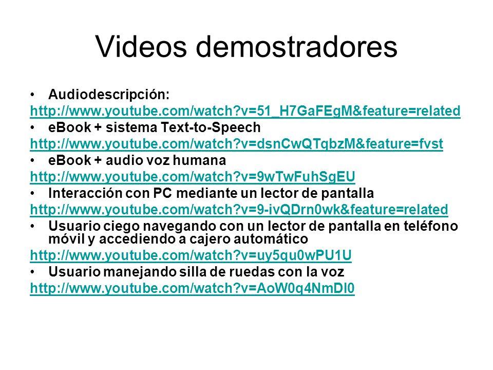 Videos demostradores Audiodescripción: http://www.youtube.com/watch?v=51_H7GaFEgM&feature=related eBook + sistema Text-to-Speech http://www.youtube.com/watch?v=dsnCwQTqbzM&feature=fvst eBook + audio voz humana http://www.youtube.com/watch?v=9wTwFuhSgEU Interacción con PC mediante un lector de pantalla http://www.youtube.com/watch?v=9-ivQDrn0wk&feature=related Usuario ciego navegando con un lector de pantalla en teléfono móvil y accediendo a cajero automático http://www.youtube.com/watch?v=uy5qu0wPU1U Usuario manejando silla de ruedas con la voz http://www.youtube.com/watch?v=AoW0q4NmDI0