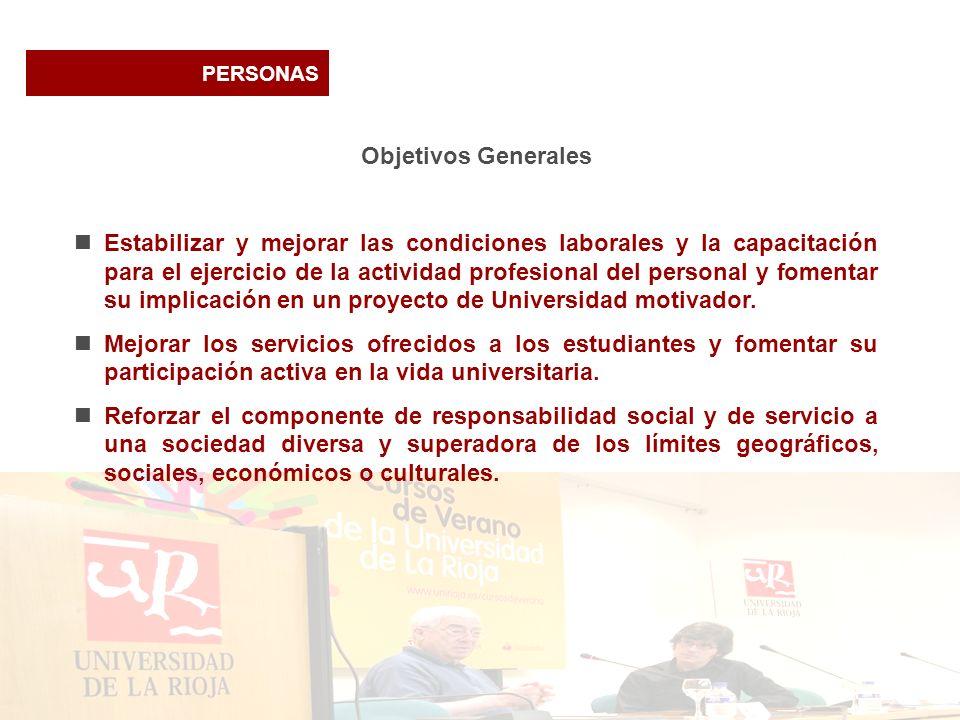 PERSONAS Objetivos Generales Estabilizar y mejorar las condiciones laborales y la capacitación para el ejercicio de la actividad profesional del perso
