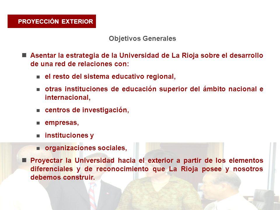 PROYECCIÓN EXTERIOR Objetivos Generales Asentar la estrategia de la Universidad de La Rioja sobre el desarrollo de una red de relaciones con: el resto