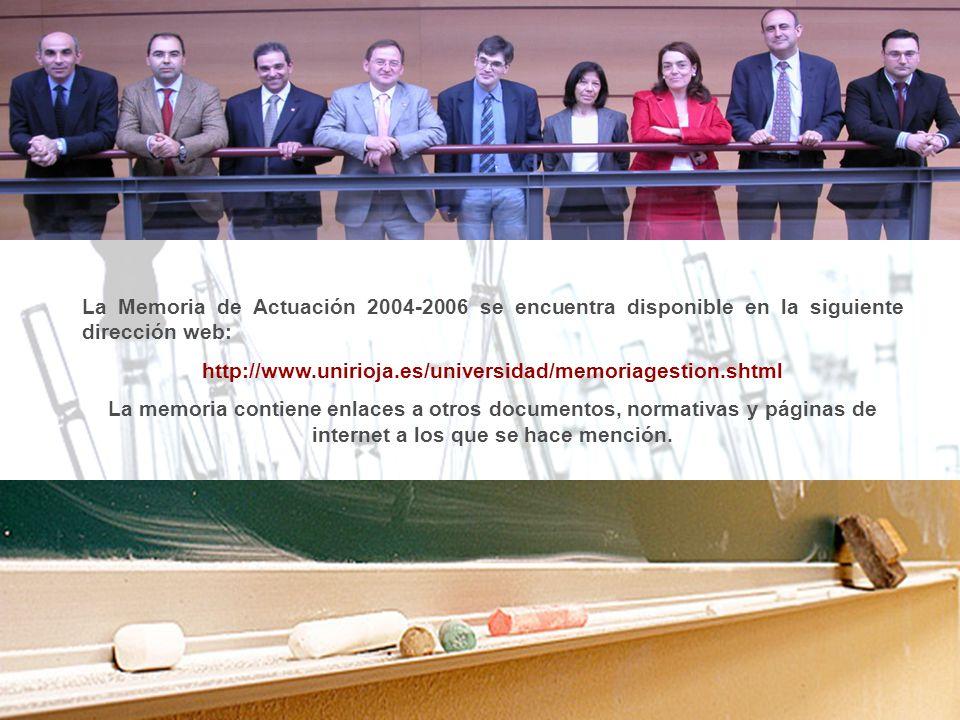 La Memoria de Actuación 2004-2006 se encuentra disponible en la siguiente dirección web: http://www.unirioja.es/universidad/memoriagestion.shtml La me