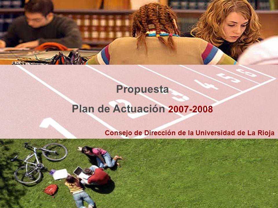 Consejo de Dirección de la Universidad de La Rioja Propuesta Plan de Actuación 2007-2008