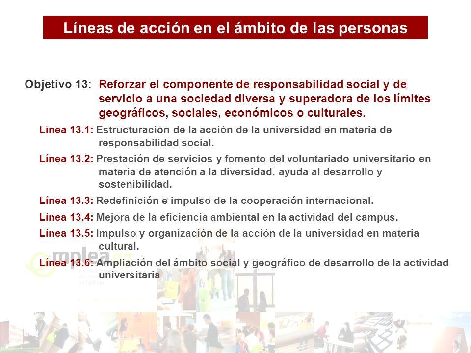 Objetivo 13: Reforzar el componente de responsabilidad social y de servicio a una sociedad diversa y superadora de los límites geográficos, sociales, económicos o culturales.