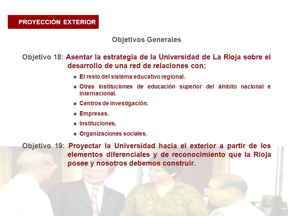 PROYECCIÓN EXTERIOR Objetivos Generales Objetivo 18: Asentar la estrategia de la Universidad de La Rioja sobre el desarrollo de una red de relaciones con: El resto del sistema educativo regional.