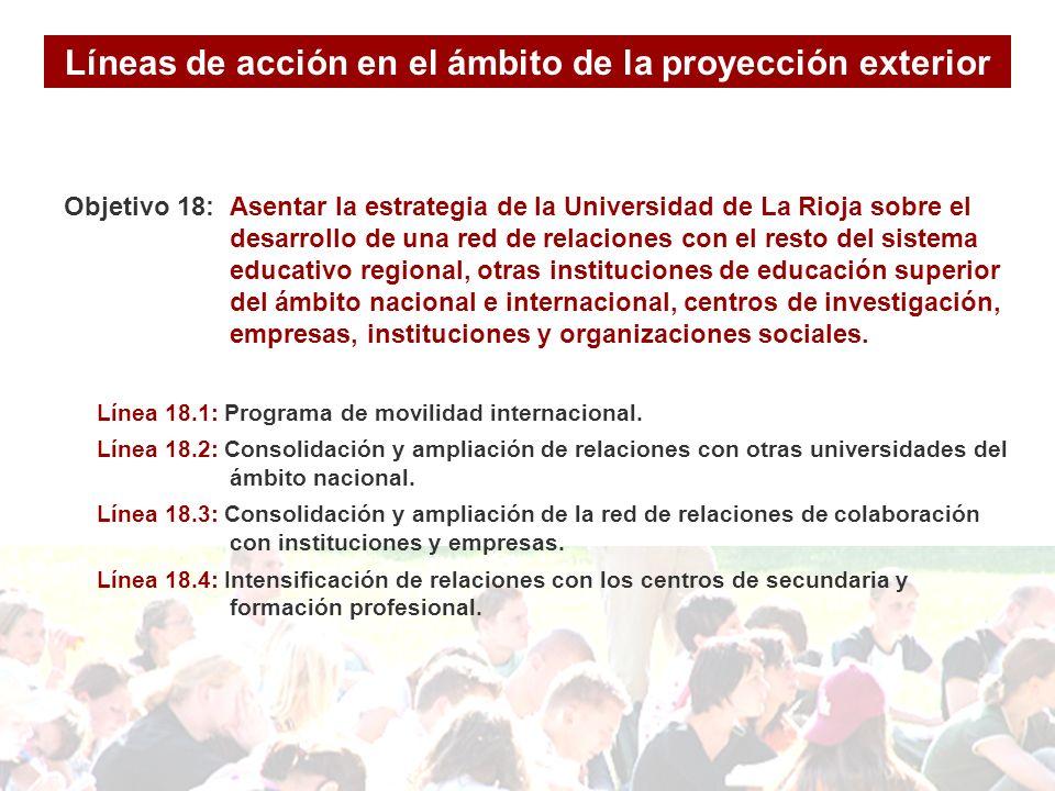 Objetivo 18: Asentar la estrategia de la Universidad de La Rioja sobre el desarrollo de una red de relaciones con el resto del sistema educativo regional, otras instituciones de educación superior del ámbito nacional e internacional, centros de investigación, empresas, instituciones y organizaciones sociales.