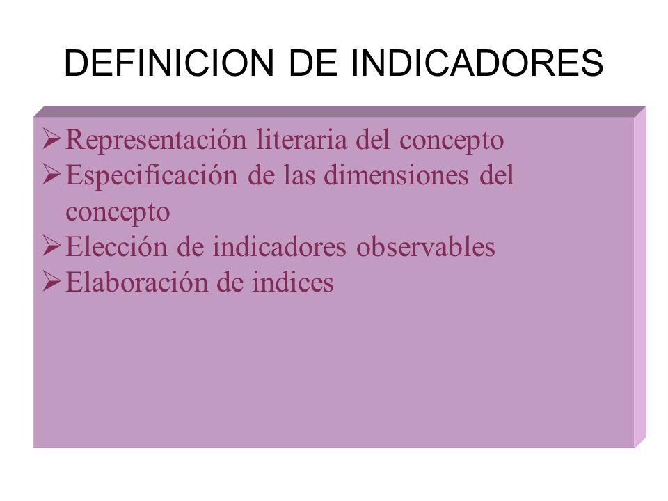 DEFINICION DE INDICADORES Representación literaria del concepto Especificación de las dimensiones del concepto Elección de indicadores observables Ela