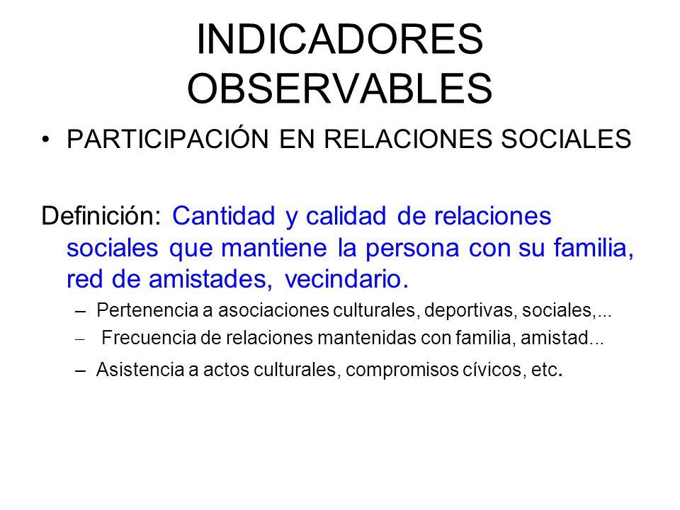 INDICADORES OBSERVABLES PARTICIPACIÓN EN RELACIONES SOCIALES Definición: Cantidad y calidad de relaciones sociales que mantiene la persona con su fami