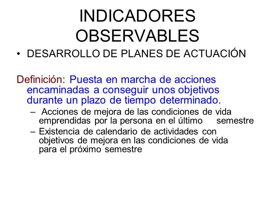 INDICADORES OBSERVABLES DESARROLLO DE PLANES DE ACTUACIÓN Definición: Puesta en marcha de acciones encaminadas a conseguir unos objetivos durante un p