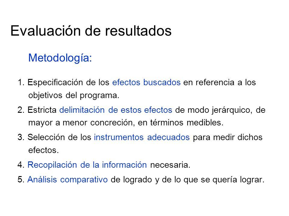 Evaluación de resultados Metodología: 1. Especificación de los efectos buscados en referencia a los objetivos del programa. 2. Estricta delimitación d