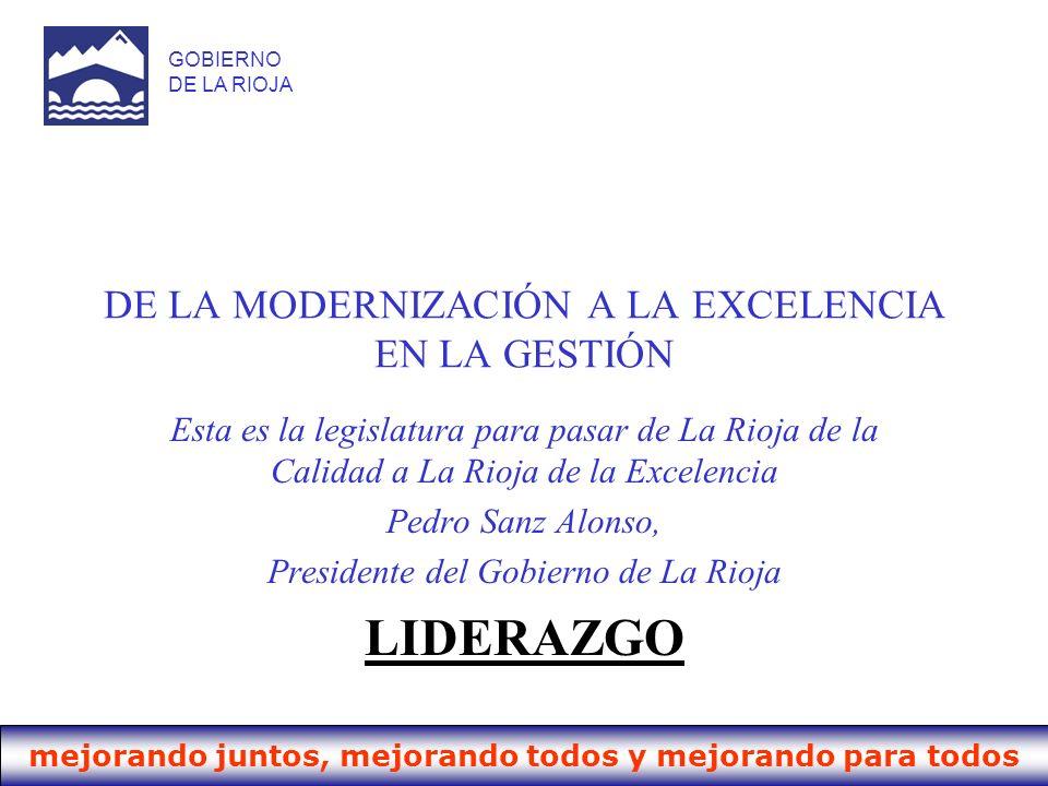 mejorando juntos, mejorando todos y mejorando para todos GOBIERNO DE LA RIOJA DE LA MODERNIZACIÓN A LA EXCELENCIA EN LA GESTIÓN Esta es la legislatura
