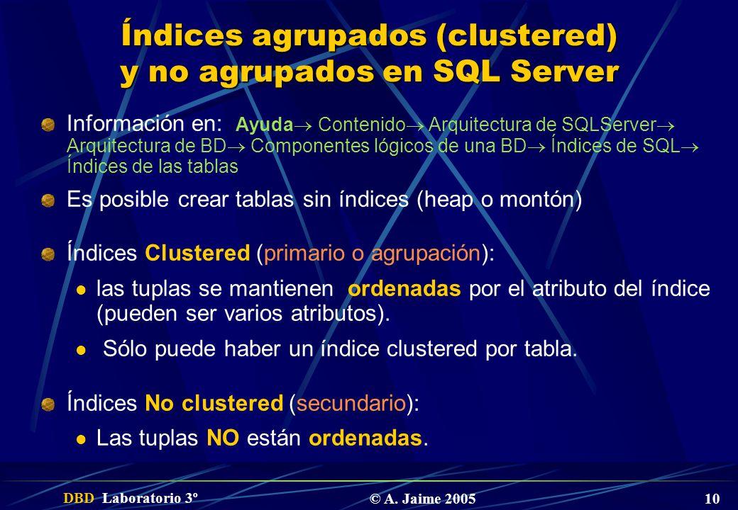 DBD Laboratorio 3º © A. Jaime 2005 10 Índices agrupados (clustered) y no agrupados en SQL Server Información en: Ayuda Contenido Arquitectura de SQLSe