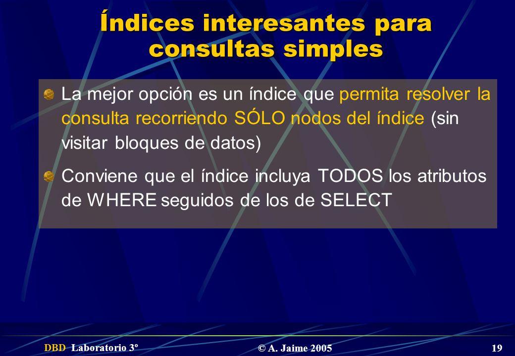 DBD Laboratorio 3º © A. Jaime 2005 19 Índices interesantes para consultas simples La mejor opción es un índice que permita resolver la consulta recorr