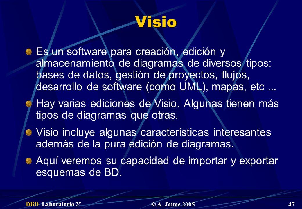 DBD Laboratorio 3º © A. Jaime 2005 47 Visio Es un software para creación, edición y almacenamiento de diagramas de diversos tipos: bases de datos, ges