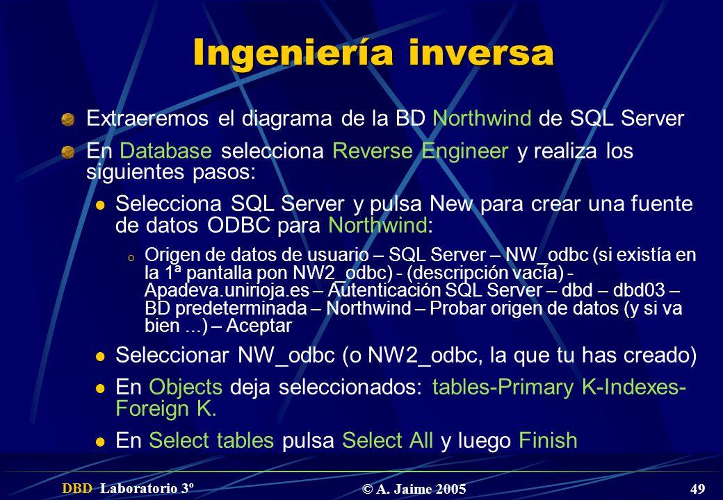 DBD Laboratorio 3º © A. Jaime 2005 49 Ingeniería inversa Extraeremos el diagrama de la BD Northwind de SQL Server En Database selecciona Reverse Engin