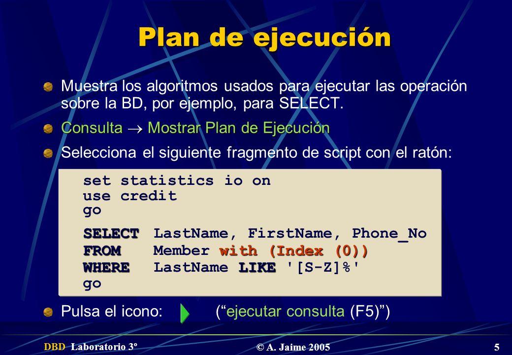 DBD Laboratorio 3º © A. Jaime 2005 5 Plan de ejecución Muestra los algoritmos usados para ejecutar las operación sobre la BD, por ejemplo, para SELECT