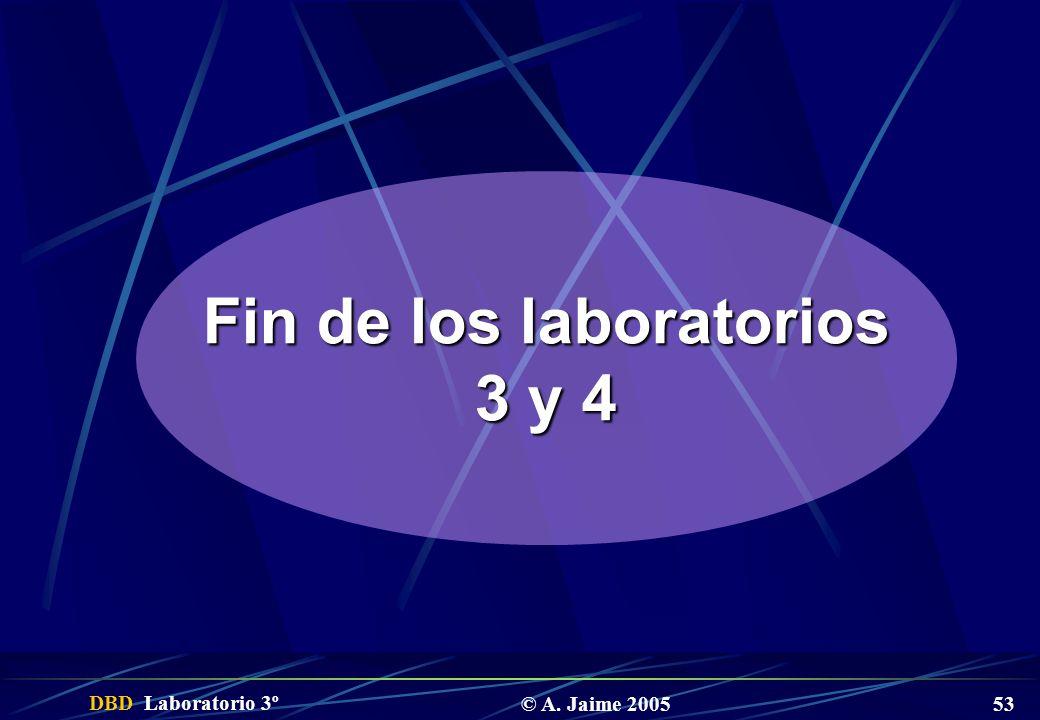 DBD Laboratorio 3º © A. Jaime 2005 53 Fin de los laboratorios 3 y 4