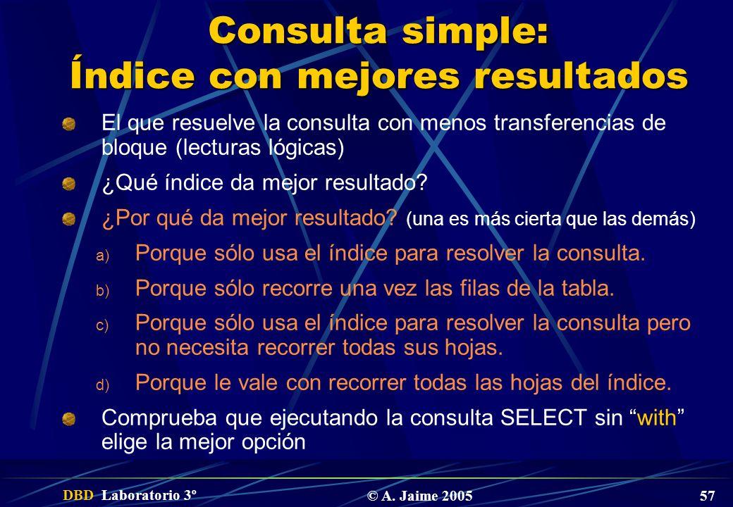 DBD Laboratorio 3º © A. Jaime 2005 57 Consulta simple: Índice con mejores resultados El que resuelve la consulta con menos transferencias de bloque (l