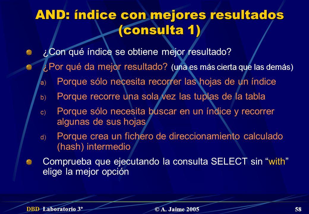 DBD Laboratorio 3º © A. Jaime 2005 58 AND: índice con mejores resultados (consulta 1) ¿Con qué índice se obtiene mejor resultado? ¿Por qué da mejor re