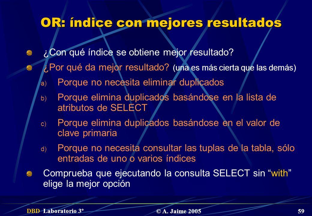DBD Laboratorio 3º © A. Jaime 2005 59 OR: índice con mejores resultados ¿Con qué índice se obtiene mejor resultado? ¿Por qué da mejor resultado? (una