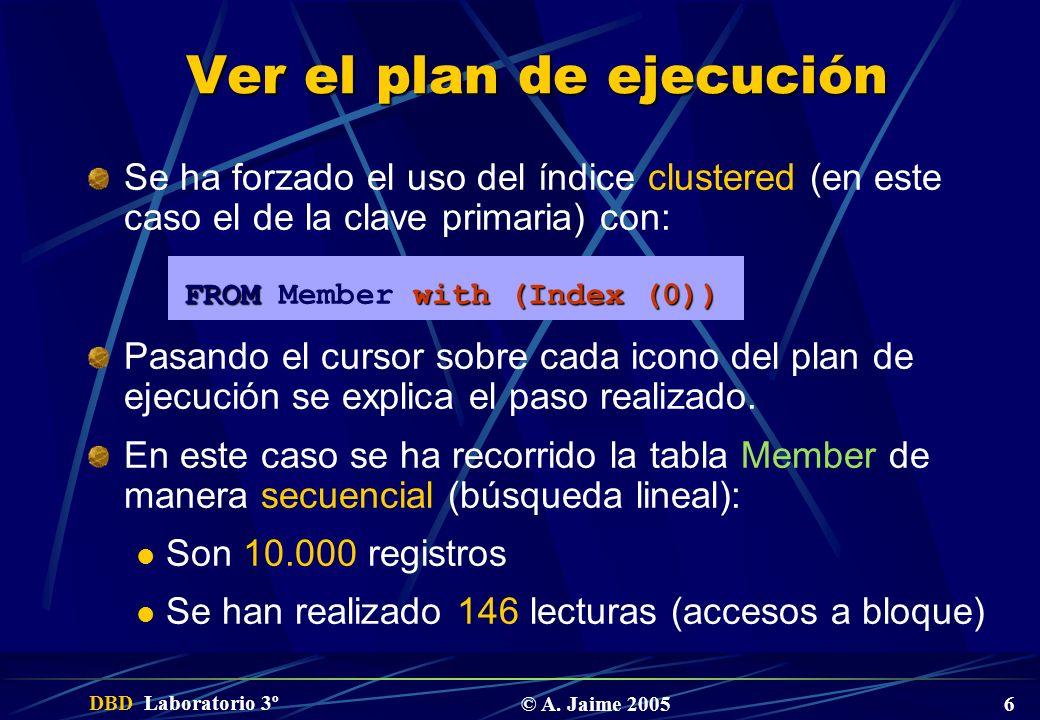 DBD Laboratorio 3º © A. Jaime 2005 6 Ver el plan de ejecución Se ha forzado el uso del índice clustered (en este caso el de la clave primaria) con: FR