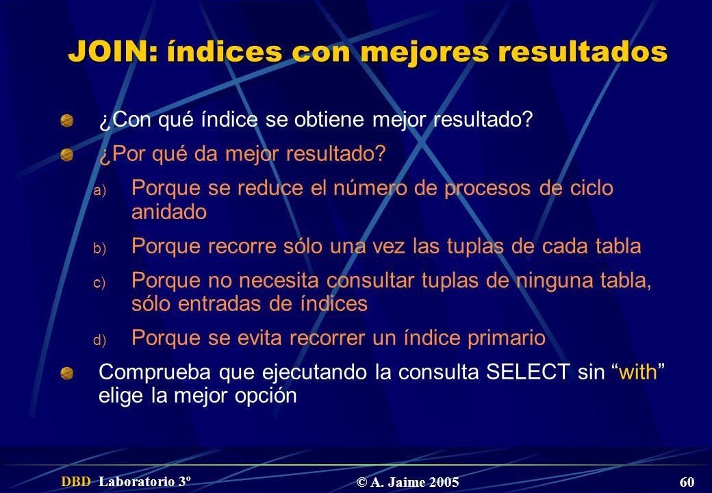 DBD Laboratorio 3º © A. Jaime 2005 60 JOIN: índices con mejores resultados ¿Con qué índice se obtiene mejor resultado? ¿Por qué da mejor resultado? a)