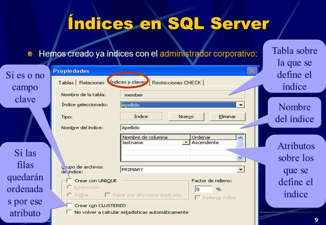 DBD Laboratorio 3º © A. Jaime 2005 9 Índices en SQL Server Hemos creado ya índices con el administrador corporativo: Nombre del índice Atributos sobre