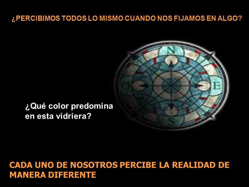 ¿Qué color predomina en esta vidriera? ¿PERCIBIMOS TODOS LO MISMO CUANDO NOS FIJAMOS EN ALGO? CADA UNO DE NOSOTROS PERCIBE LA REALIDAD DE MANERA DIFER