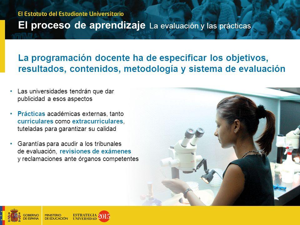 La programación docente ha de especificar los objetivos, resultados, contenidos, metodología y sistema de evaluación Las universidades tendrán que dar