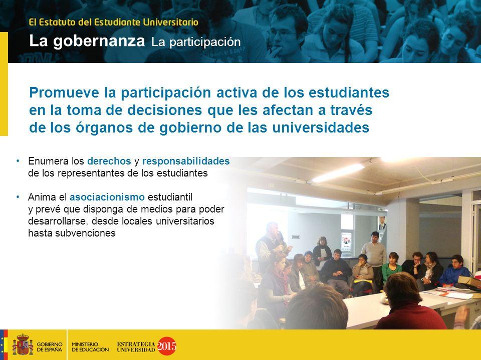 Promueve la participación activa de los estudiantes en la toma de decisiones que les afectan a través de los órganos de gobierno de las universidades